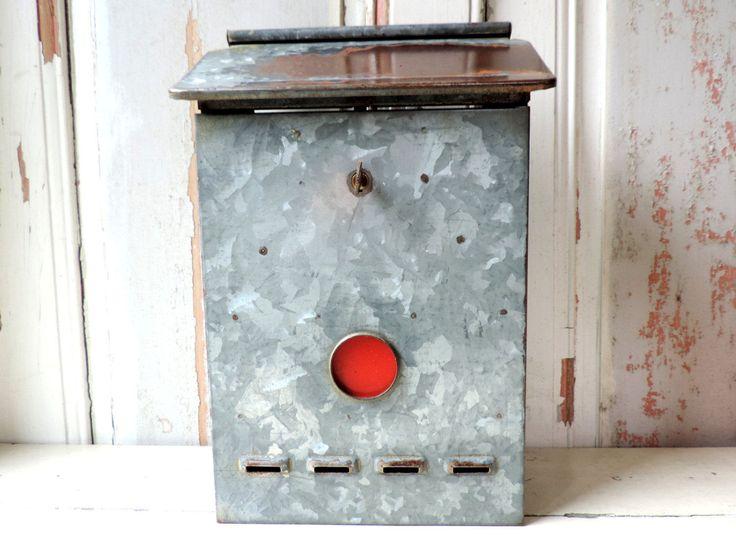 Vintage Mailbox/French Vintage Galvanized Metal Mailbox/Vintage Industrial Metal Mailbox/French Vintage Mailbox/Vintage Letterbox by SouvenirsdeVoyages on Etsy
