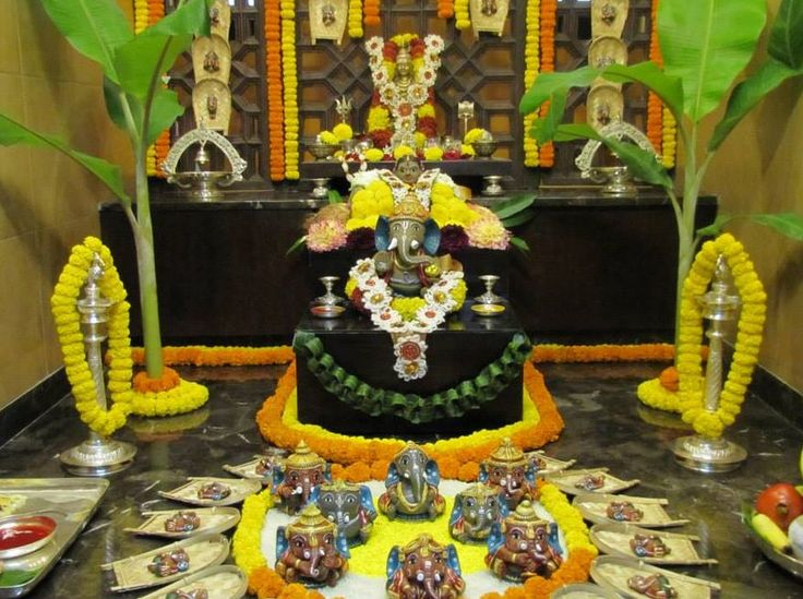 225 best images about pooja and festival decor on for Artificial flower decoration for ganpati