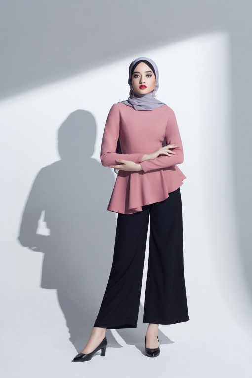 053f8fdf092 asymmetric peplum top modest blouse pink loose fit islamic muslim clothing  workwear muslimah