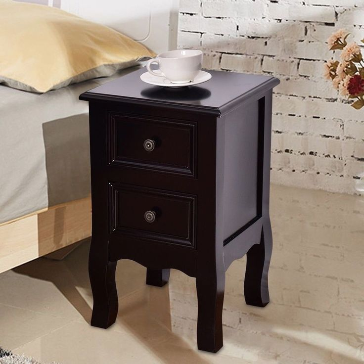 Wooden Tea Side Table Nightstand With Drawers Modern Retro Decor Furniture Black #WoodenTeaSideTable