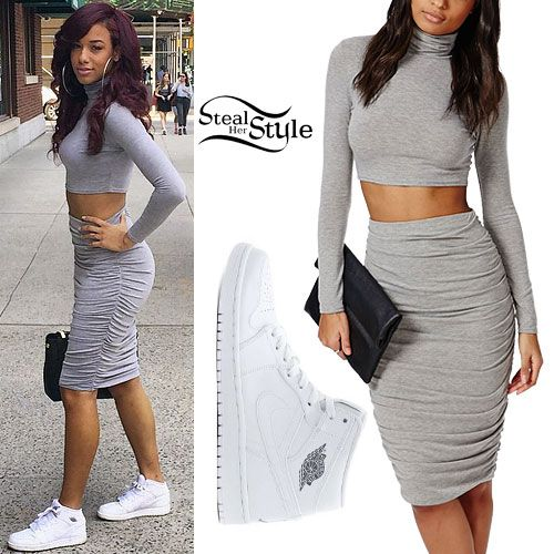 Natalie La Rose stepped out in New York on Monday wearing the Missguided Roll Neck Long Sleeve Crop Top Grey ($20.00), Missguided Ruched Seam Midi Skirt Grey ($30.00), and Nike Air Jordan 1 Mid White Shoes ($110.00).