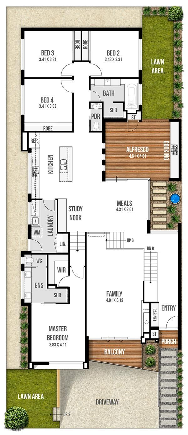 Best 25 narrow lot house plans ideas on pinterest for Narrow lot 4 bedroom house plans