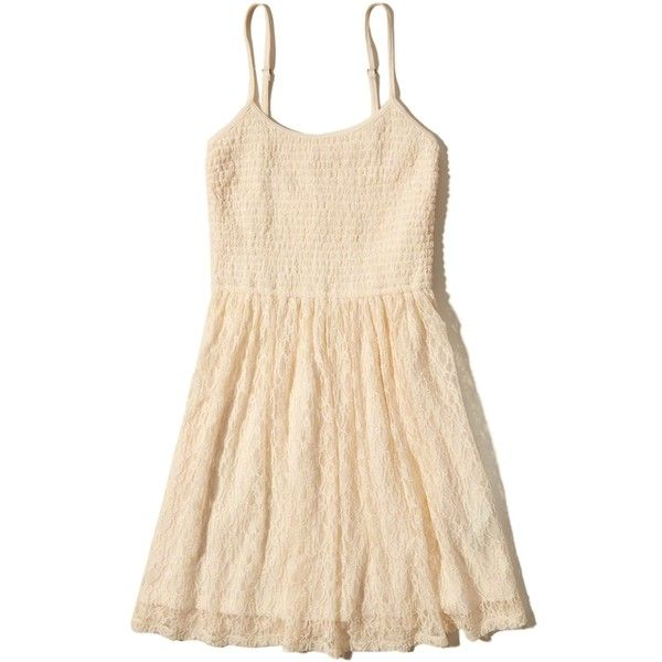 Hollister Smocked Top Skater Dress (£25) ❤ liked on Polyvore featuring dresses, hollister, cream, flared skirt, smock dress, beige skater dress, cream skater skirt and beige dress