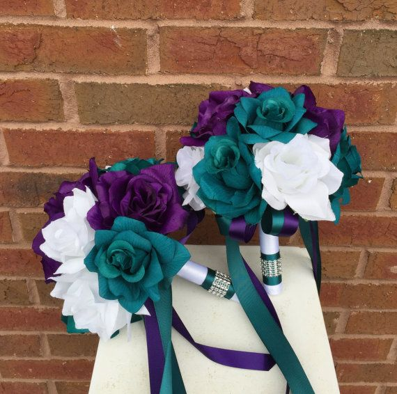 13 pc wedding package-Dark Teal Plum Purple and by AngelIsabella