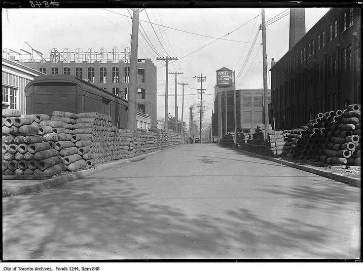 Bombs stored on Liberty Street, looking east from Dufferin Street ca 1915 City of Toronto Archives