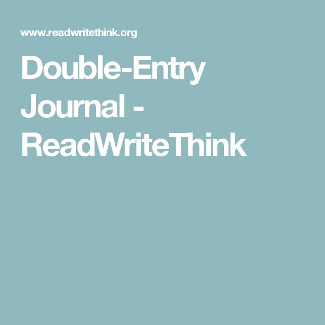 Double-Entry Journal - ReadWriteThink