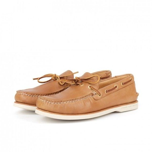 Sperry Gold 1 Eye Boat Shoe (Tan) ($220) ❤ liked on Polyvore featuring men's fashion, men's shoes, men's loafers, mens gold shoes, mens deck shoes, mens boat shoes, sperry top sider mens shoes and sperry mens shoes