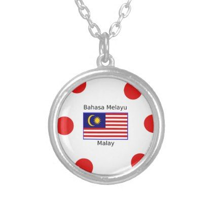 Malaysia Flag And Malay Language Design Silver Plated Necklace - jewelry jewellery unique special diy gift present