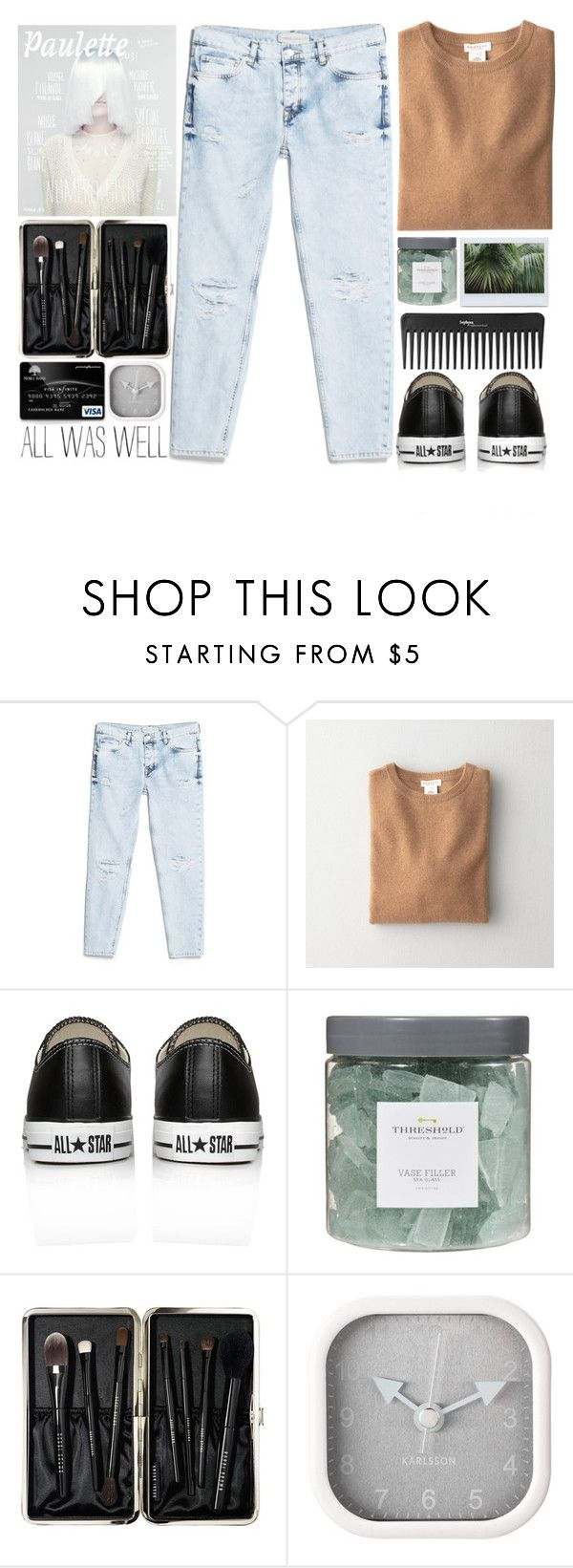 """""""#208 Rainy summer day"""" by mia5056 ❤ liked on Polyvore featuring Sephora Collection, MANGO, Demylee, Converse, Threshold, Bobbi Brown Cosmetics and Karlsson"""