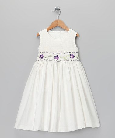 Take a look at this Ivory & Purple Smocked Dress - Toddler & Girls by Jayne Copeland on #zulily today!
