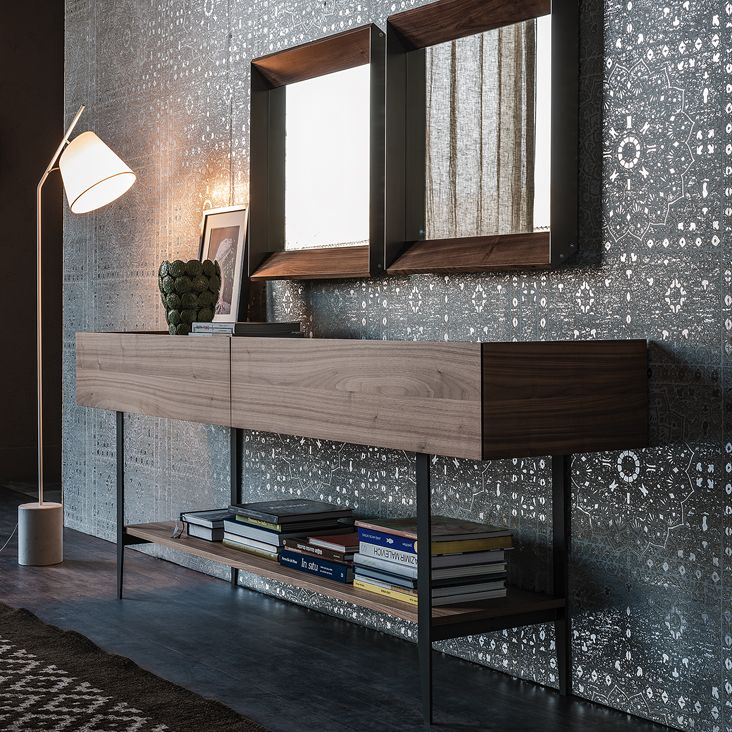Cattelan Italia Horizon Sideboard Console TV Stand With 2 Drawers In Canaletto Walnut Or Burned Oak Top Graphite Painted Frosted Extra Clear Glass And