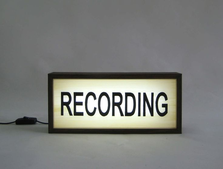 Hand Painted RECORDING Sign Vintage Wooden Lightbox / Illuminated Sign / Industrial Rustic / Reclaimed Plastic / Vintage Music Studio Decor by Bingkai on Etsy
