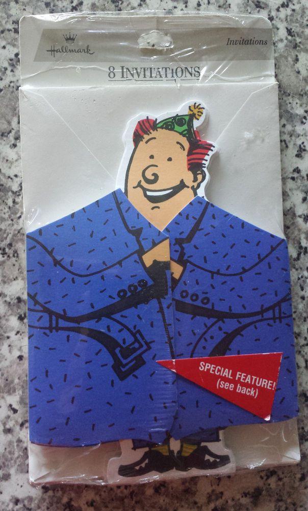 Vintage Hallmark Die-cut Blue Raincoat Flasher Party invitations - 8 pack NEW #Hallmark #Party