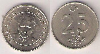 Turquia - Buts of Atatuk, 25 Kurus - 2005