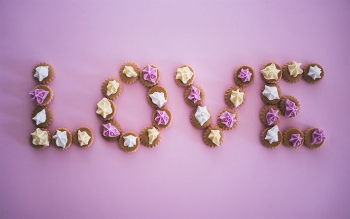 Download wallpapers Love, cupcakes, sweets, desserts, cakes, pink background