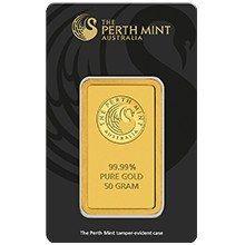 50g Perth Mint Gold Minted Bar