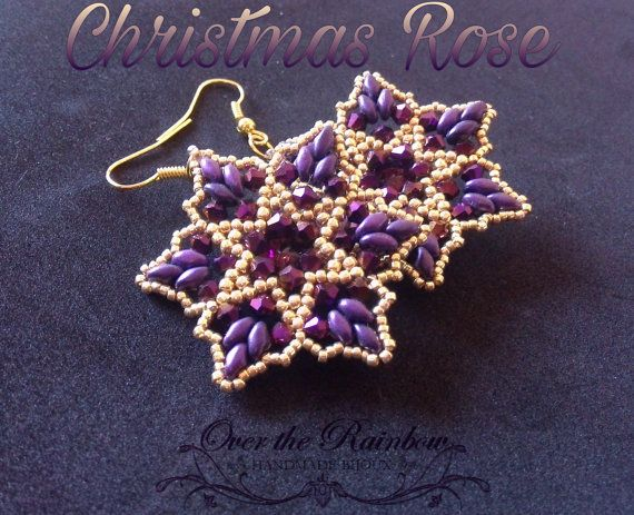 PDF CHRISTMAS ROSE earrings di NicoleOverTheRainbow su Etsy