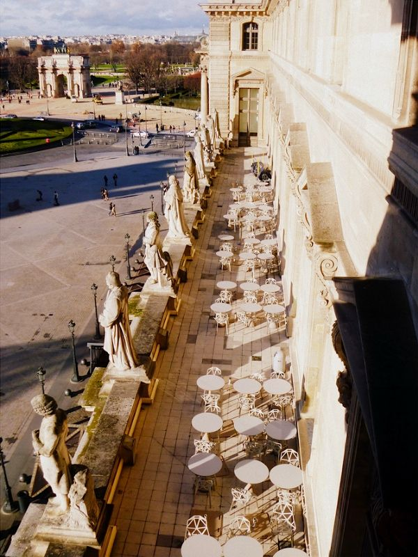 Cafe terrace of  The Louvre. The Musée du Louvre —in English, the Louvre Museum or simply The Louvre—is one of the world's largest museums, and a historic monument. A central landmark of Paris, France, it is located on the Right Bank of the Seine in the 1st arrondissement.
