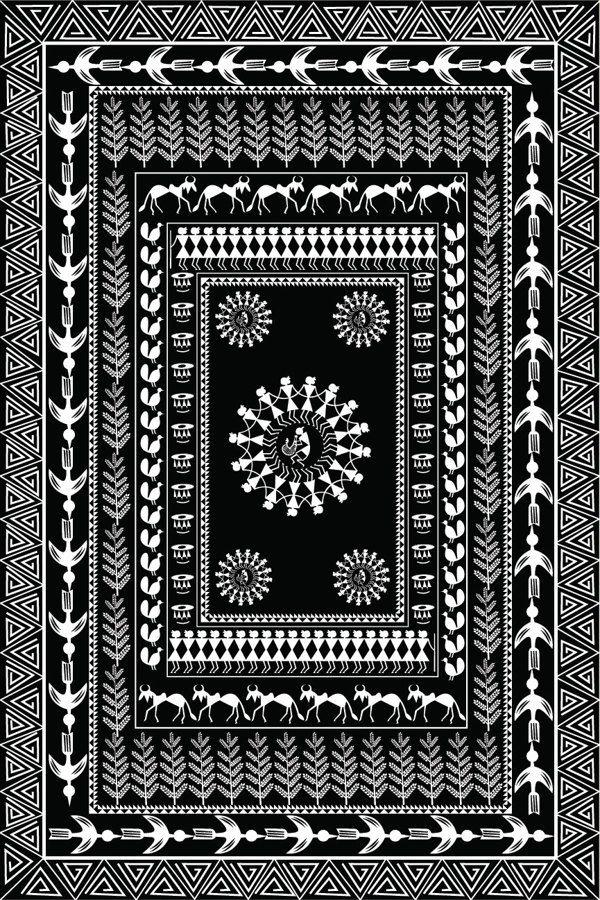 Customized Wrapping Paper // Warli Art by Priyanka Chhetry, via Behance