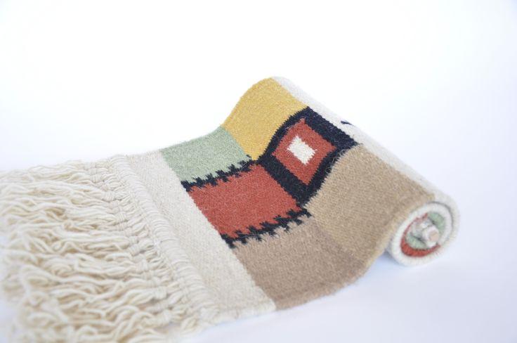 Rustic home decor - handmade decorative wool rug - traditional Romanian folk art