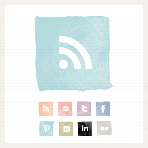 Image of Watercolour Square Social Buttons