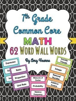 In this set of 62 math words you will find common core math aligned words. Each word is color coded by domain and will work perfectly during your units of study. These words can be used for a word wall, math games, flash cards and many more possibilities!