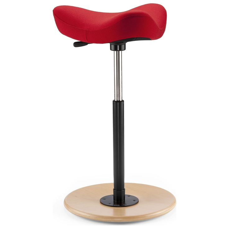 The Varier Move standing stool encourages movement in a unique way. This ergonomic stool's unique half standing, half sitting position combines with its convex base, allowing users to shift position on one dynamic point of support. The Move stool follows users as they move and provides a full 360° range of motion. This gives complete freedom  to concentrate on the task at hand. Equally appropriate for home uses such as sitting at a breakfast bar or at a Standing Desk for work.