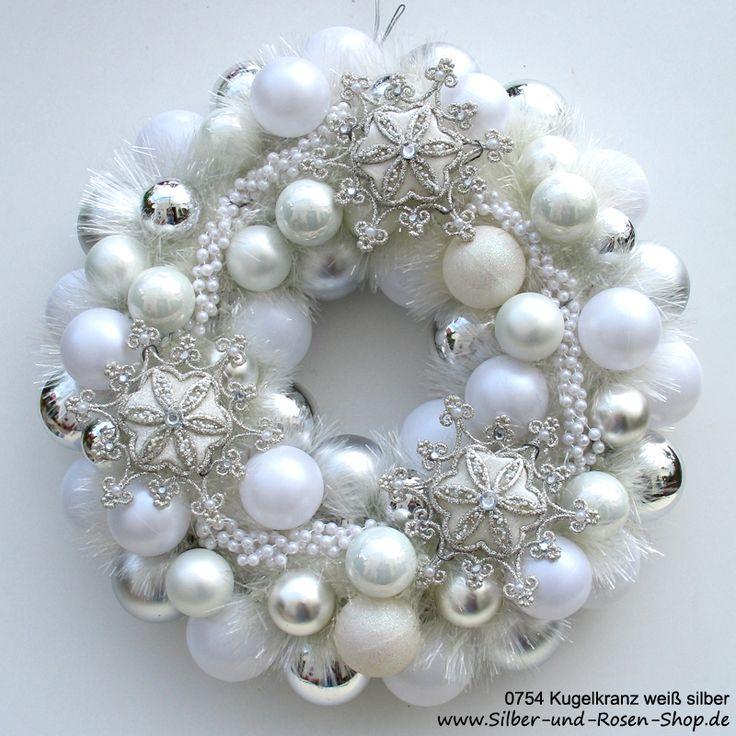 Türkranz Weihnachten Kugeln weiß silber (Diy Wreath Modern)