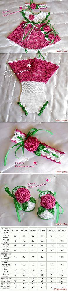 Вяжем комплект: платье -боди, пинетки и повязка ( Мои Сказки) - Вяжем вместе…