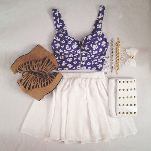 Cute summer and fall outfit. Tan heels, white skirt ...