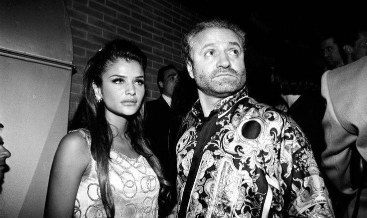 Helena Christensen backstage w/ Gianni Versace