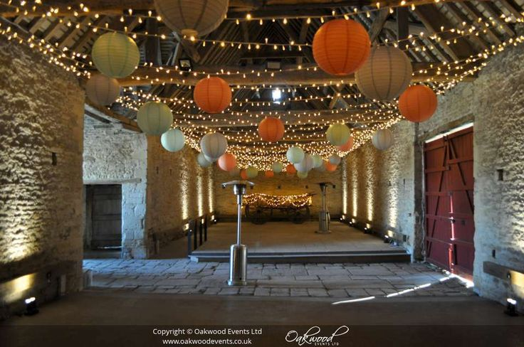 Fabulous widthways canopy for maximum sparkle, adorned with peach, robin egg and dove grey lanterns