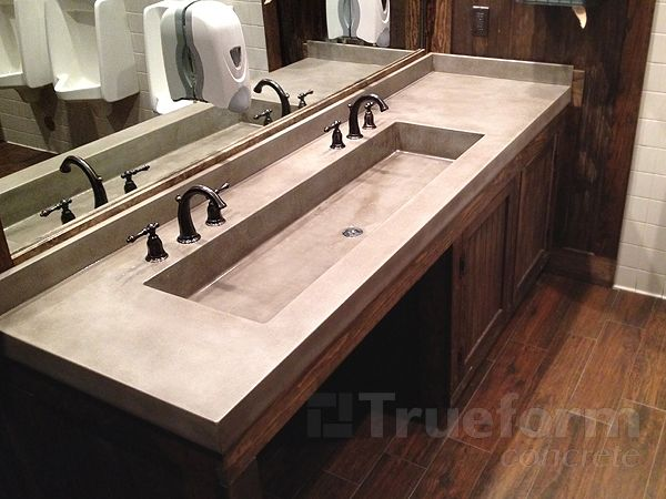 Concrete Trough Sink : ... Concrete Sink With Double Stainless Trough Sinks Bathroom. Cardkeeper