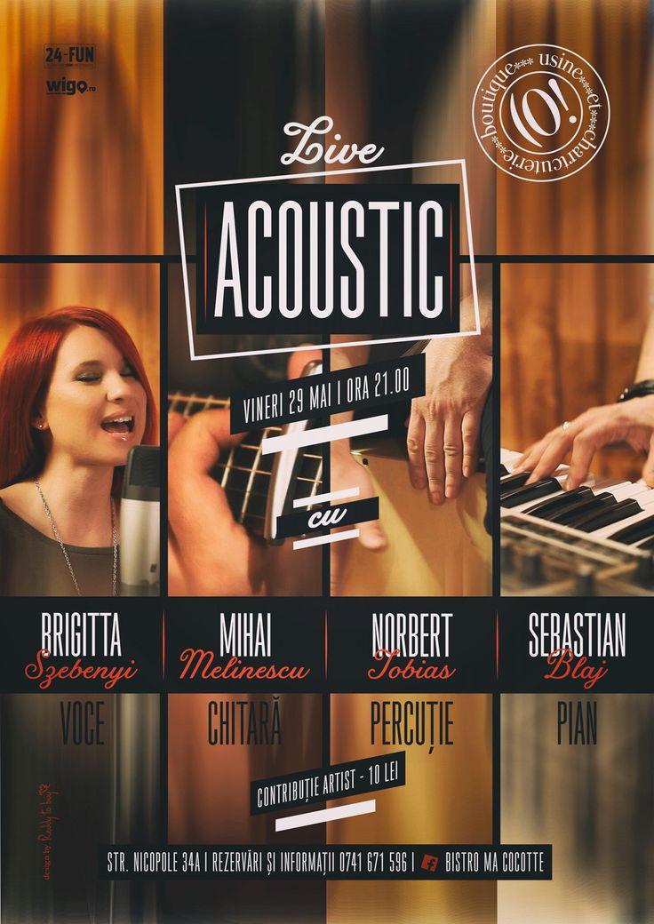 Acoustic Live @Bistro Ma Cocotte! Brigitta Szebenyi - voce Mihai Melinescu - chitară Norbert Tobias - percuție Sebastian Blaj - pian  Ne bucurăm de o seară specială la Bistro Ma Cocotte, vineri 29 mai, începând cu ora 21. Nu uita de rezervare: 0741 671596. Contribuție artist:10 lei.