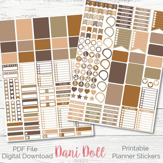 Vintage feel Weekly Planner Stickers 2 Sheets PDF Instant Download Erin Condren Mambi Printable Sticker Pack by danidolldesignsx