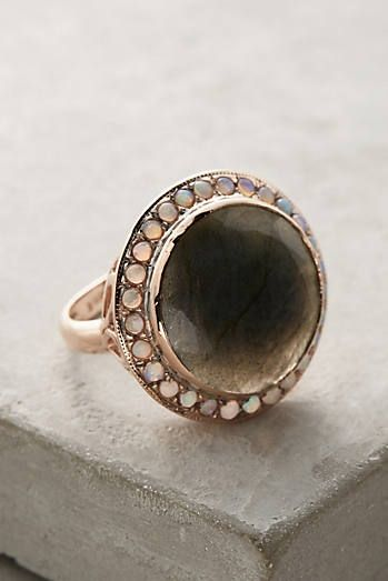 Labradorite and Opal Cocktail Ring in 14k Rose Gold