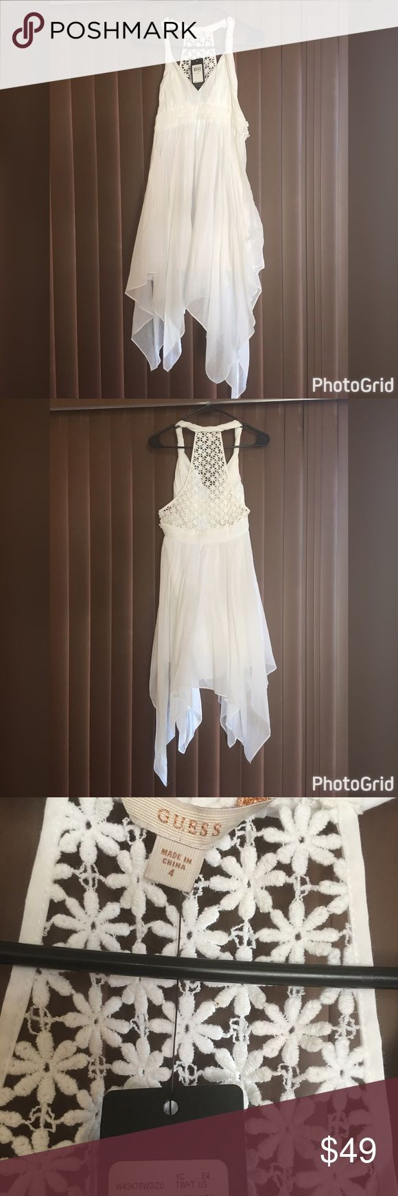 NWT GUESS dress Sz 4 White summer dress. Crotchet backing. Super cute and flowy! Would be great with wedges. Retail price is $108! Guess Dresses Asymmetrical