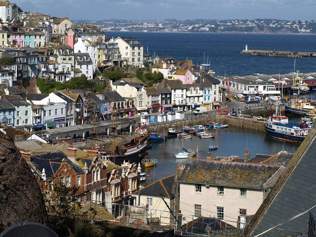 Beautiful, quaint, Brixham. The Fish Quay, Harbour and across to Berry Head