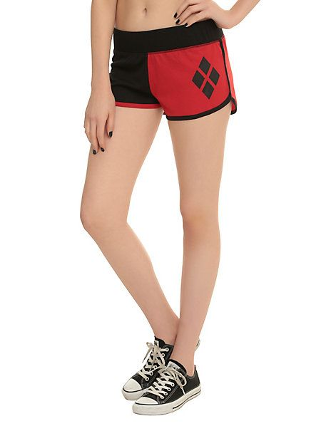 DC COMICS HARLEY QUINN LOUNGE SHORTS IN BLACK/RED