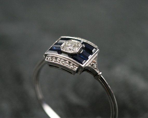 art deco sapphire and diamond
