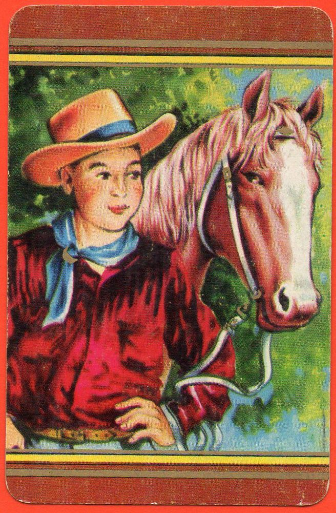 Boy in Hat with Horse Coles Swap Playing Card Blank Back Un-named Series # 1668