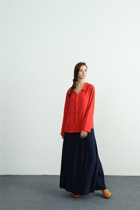 c5b25381b155d Women s sleeves shirt linen cotton shirt plus size clothing large size  shirt Custom-made clothing E0
