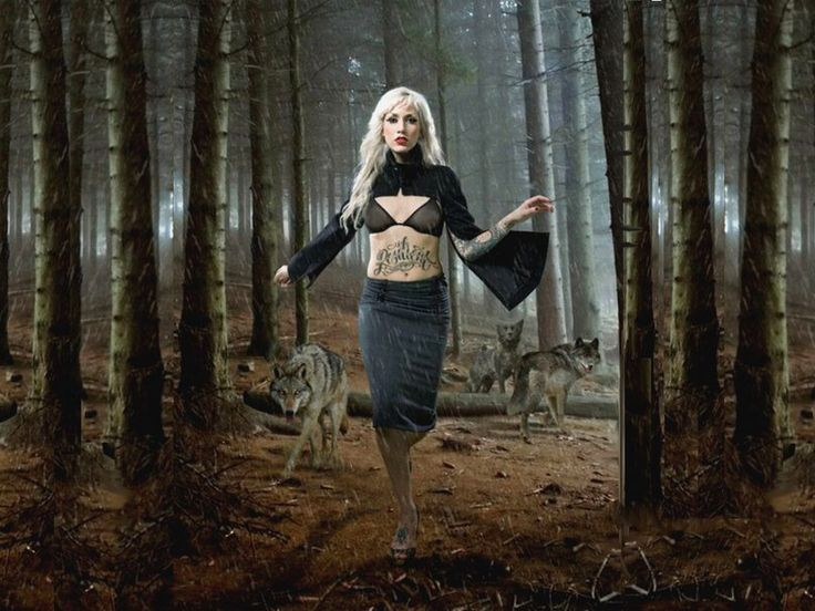 Blonde woman and wolves in woods | Woman with wolf