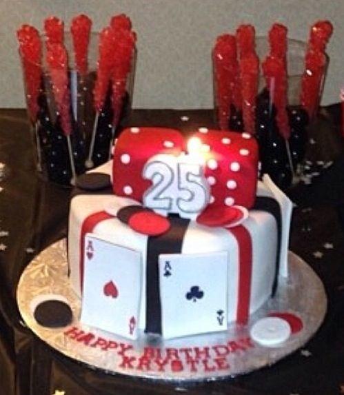 Casino Themed Birthday Cake (Handmade Dice and cards)