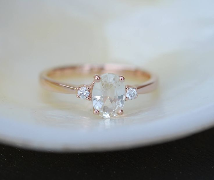 White sapphire engagement ring. Promise ring. Oval engagement ring. 3 stone ring. Rose gold engagement ring. Gemstone ring by Eidelprecious by EidelMini on Etsy