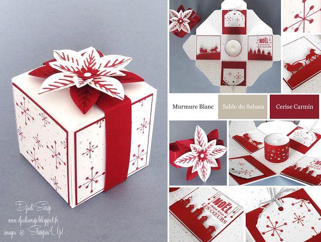 """Djudi'Scrap Stampin'Up! - Boite à explosion pour décorer vos tables de Noël """"Fleur festive en kit, Edgelits Tour de traineau"""" et Tutoriel"""