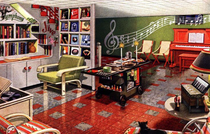 Retro Rooms 12 Themed Vintage Basement Remodels 1948