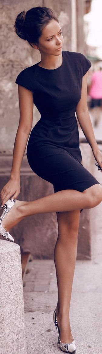 Elegant at the table --> Little black dress with high heels. Elegant hairstyle.   JustBeStylish.com