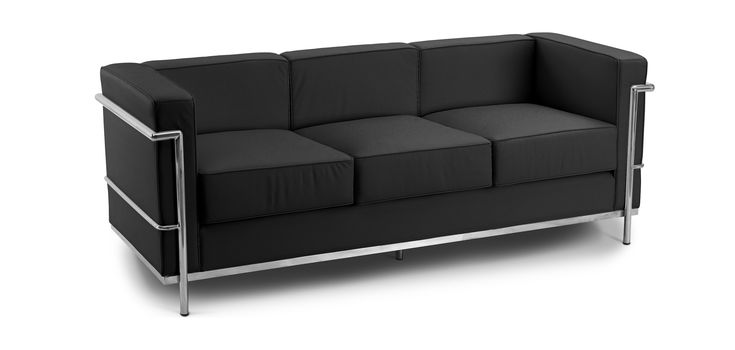 Canap design lc2 style le corbusier 3 places simili - Canape lc2 le corbusier ...
