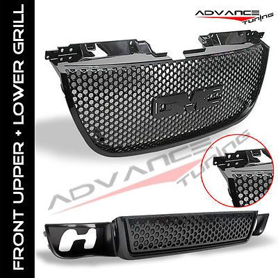 2007-2012 07 13 GMC YUKON DENALI BLACK ABS FRONT UPPER GRILL +LOWER GRILLE 2008